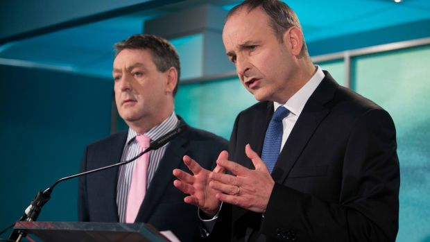 Fianna Fáil MEP Billy Kelleher (L) with party leader Micheál Martin (R) at the launch of the FF election campaign in 2016. Photograph: Gareth Chaney/ Collins