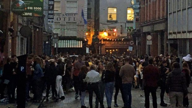 Dublin city centre on Saturday evening as lockdown restrictions started to ease. Photograph: PA