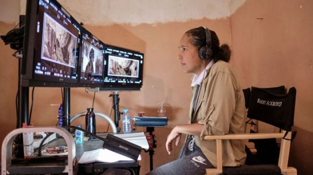 Gina Prince-Bythewood at work on the set of The Old Guard. Photograph: Mohammed Kamal/Netflix
