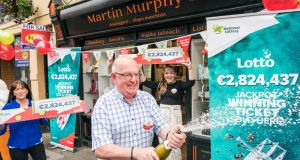 A lucky shopkeeper in Ballinrobe, Co Mayo is incredibly celebrating his third Lotto jackpot win. Photograph: Mac Innes