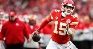 Patrick Mahomes is reported to have signed a new 10-year deal with the Kansas City Chiefs worth $400 million. Photograph: Larry W Smith/EPA