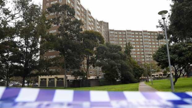 The public housing towers along Alfred Street in Melbourne, Australia under complete lockdown. Photograph: James Ross/EPA