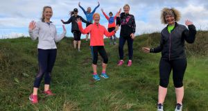 Mary Jennings with her running buddies in Donabate, Co Dublin