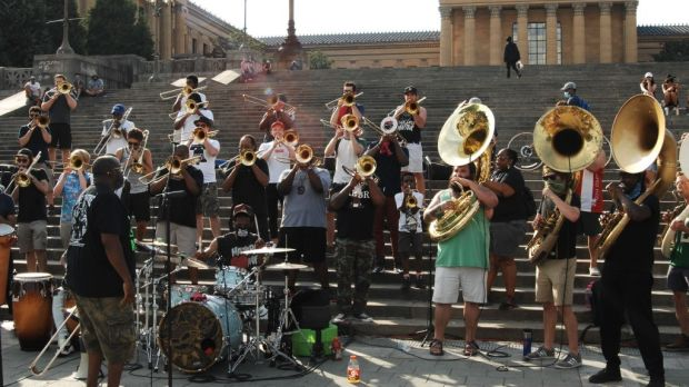 A Philadelphia orchestral band known as The Brotherhood performed in front of the Philadelphia Art Museum in support of the Black Lives Matter movement on July 5th. Photograph: Cory Clark/NurPhoto/Getty Images