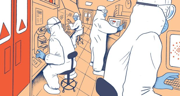 Coronavirus: teams of scientists are racing to understand its weaknesses, develop treatments and vaccines, and accurately forecast its next moves. Illustration: Richard McGuire/New York Times
