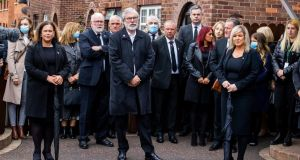 Sinn Féin leader Mary Lou McDonald, Gerry Adams and Deputy First Minister Michelle O'Neill at the funeral of Bobby Storey in Belfast. Photograph: Liam McBurney/PA Wire