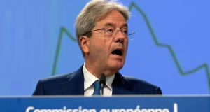 European Commissioner for the Economy Paolo Gentiloni. The commission warned that that economic output in the euro zone could slump by 8.7 per cent this year. Photograph: Virginia Mayo/EPA