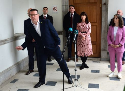 BEST FOOT FORWARD: Labour Party leader Alan Kelly announcing new line-up of Labour Party spokespeople at Leinster House, Dublin. Photograph: Dara Mac Donaill