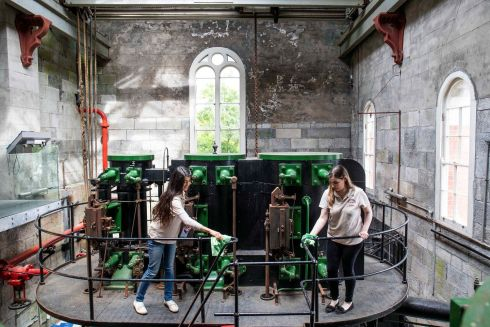 SPICK AND SPAN: Shazia Waheed and Joanne Tuohy at the reopening as a tourist experience of the Old Cork Waterworks, on the Lee Road. Photograph: Clare Keogh