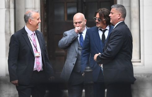 FEAR AND LOATHING IN LONDON: US actor Johnny Depp leaves the Royal Courts of Justice in London. Heis suing The Sun's publisher News Group Newspapers over claims he abused his ex-wife, actor Amber Heard. Photograph: Facundo Arrizabalaga/EPA