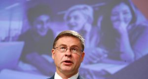 "European Commission   executive vice-president Valdis Dombrovskis: ""We continue to navigate in stormy waters and face many risks"". Photograph: Getty Images"