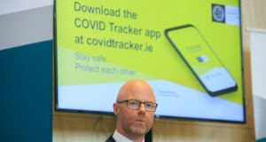Minister for Health Stephen Donnelly at the launch of the Covid tracker app in Dublin on Tuesday. Photograph: Gareth Chaney/Collins