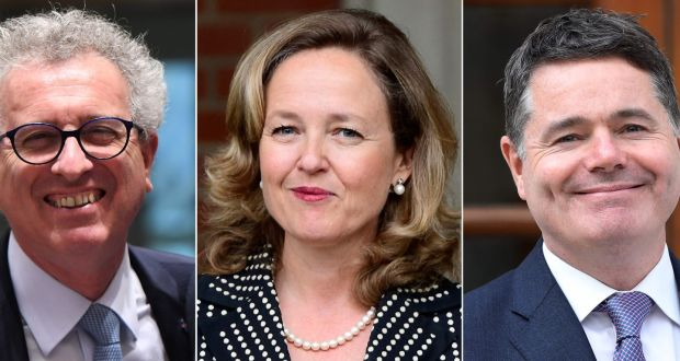 Contenders for the post of president of the Eurogroup: (from left) Luxembourg's finance minister Pierre Gramegna, Spain's minister for economic affairs Nadia Calviño  and Minister for Finance Paschal Donohoe. Photograph: Getty Images