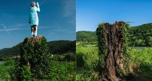 (Left) A file photo taken on July 5, 2019 of what conceptual artist Ales  Zupevc claims is the first ever monument of Melania Trump, set in the fields near the US first lady's hometown of  Sevnica, Slovenia and  (right) a photo taken on July 7th,  showing the charred remains of a tree trunk that once acted as a plinth for the wooden statue. Photos by Jure Makovec/AFP via Getty Images.