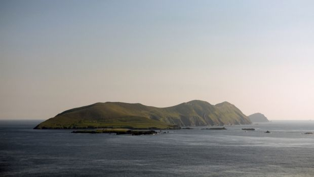 The view looking out to the Atlantic coastline of the Great Blasket Island from Dingle in Kerry.