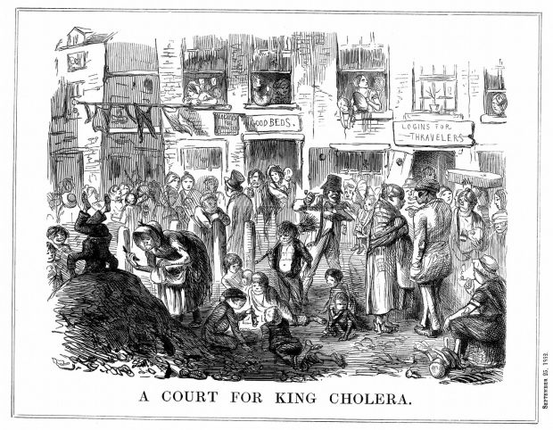A Court for King Cholera: Punch magazine cartoon depicting conditions in London slums in the 1850s Photograph: Photo 12/Universal Images Group via Getty Images