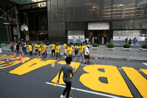 Black Lives Matter is painted on Fifth Avenue in front of Trump Tower, in New York. Photograph: Mark Lennihan/AP Photo