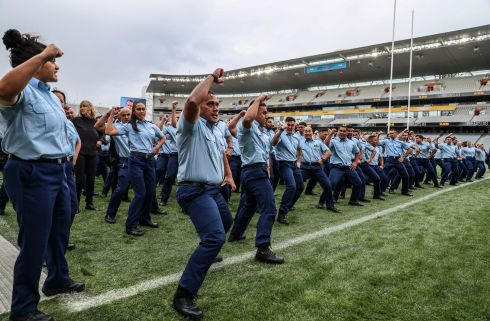 Members of the New Zealand Police force perform a Haka at the funeral service for Constable Matthew Hunt at Eden Park in Auckland, New Zealand. Constable Matthew Hunt was shot and killed during a routine traffic stop in the West Auckland suburb of Massey on June 19th. Photograph: New Zealand Police via Getty Images