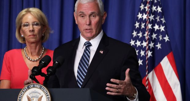 US vice-president Mike Pence speaks during coronavirus briefing. Photograph: Alex Wong/Getty