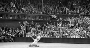 Bjorn Borg sinks to knees after winning Wimbledon for the fifth consectutive time. Photo: Getty Images