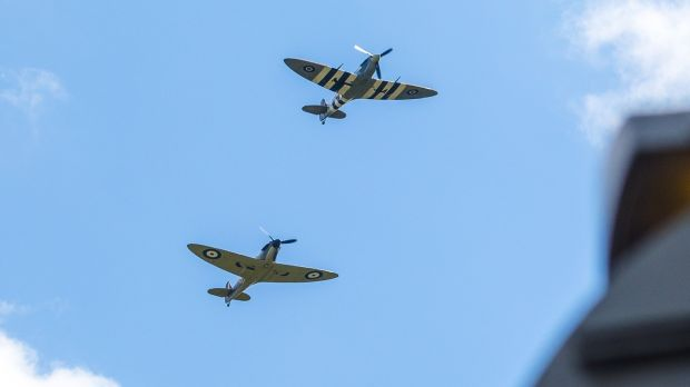 Spitfire and Hurricane planes fly over the funeral procession of Vera Lynn. Photograph: Vickie Flores/EPA