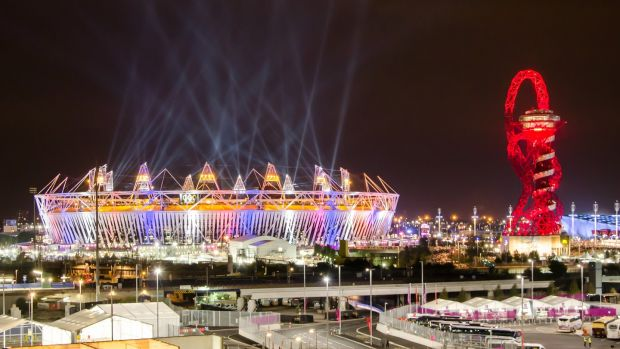 Olympic Stadium and The Orbit during London Olympics opening ceremony on July 27th, 2012