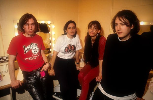 My Bloody Valentine backstage on the Loveless Tour. Taken in Cambridge, England 1991. Photograph: Alastair Indge/Photoshot/Getty Images)