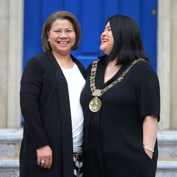 Mansion House: Hazel Chu with her mother, Stella. Photograph: Alan Betson