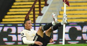 Mason Greenwood of Manchester United celebrates scoring his side's second goal in the 3-0 victory at Villa Park. Photograph: Oli Scarff/EPA
