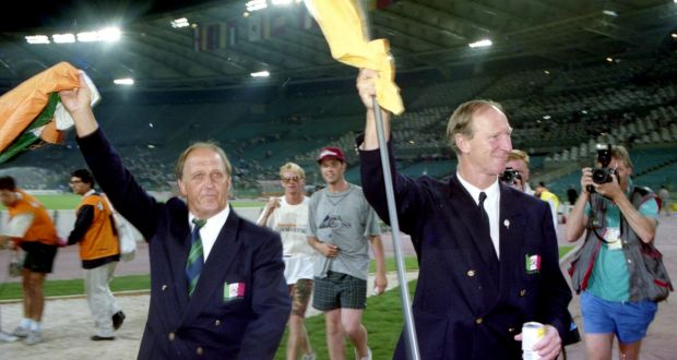 Ireland manager Jack Charlton and assistant Maurice Setters after the loss to Italy in the quarter-finals of the 1990 World Cup. Photo: Billy Stickland/Inpho