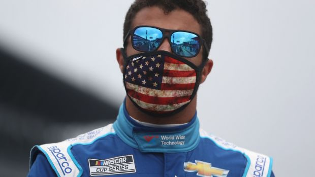 Nascar driver Bubba Wallace found himself on the end of Donald Trump tweet storm. Photograph: Chris Graythen/Getty Images