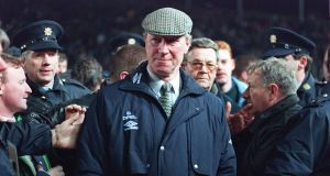 Jack Charlton at the February 1995 fixture at Lansdowne Road between the Republic and Ireland and England which had to be abandoned after English fans rioted. Photograph: PA Wire