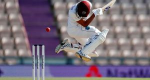 West Indies' Shane Dowrich evades a short ball on the fifth day of the first Test against  England at the Ageas Bowl in Southampton. Photograph:  Adrian Dennis/AFP via Getty Images