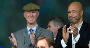 Jack Charlton with Paul McGrath before the international friendly match between the Republic of Ireland and England at the Aviva Stadium in June 2015. Photograph: Stu Forster/Getty Images