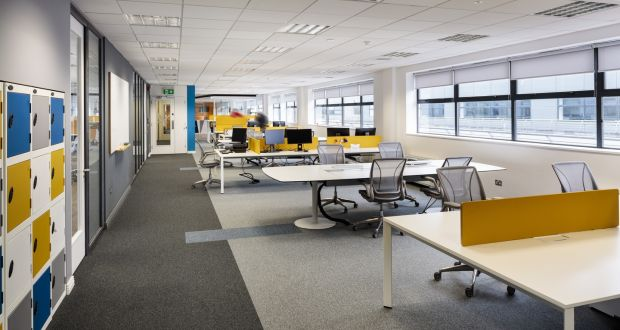 The   office suite's current configuration can accommodate up to 35 workers comfortably.