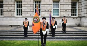 Orange men take part in a wreath-laying ceremony at Belfast City Hall. Photograph: Getty