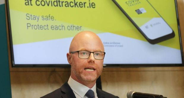 Minister for Health Stephen Donnelly launches the official HSE Covid Tracker contact tracing app at the Department of Health in Dublin on July 7th. Photograph: Niall Carson/PA Wire