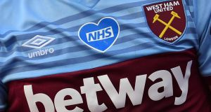 The Betway logo on the jersey of West Ham United striker Jarrod Bowen. Photograph: Justin Setterfield/Pool/AFP  via Getty Images