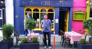 Colm Ryan outside his back-in-business winebar, Cru, in Kinsale, Co Cork