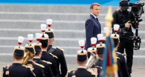 President Emmanuel Macron  during the Bastille Day military ceremony on the Place de la Concorde in Paris. Photograph:  Thomas Samson/AFP via Getty Images