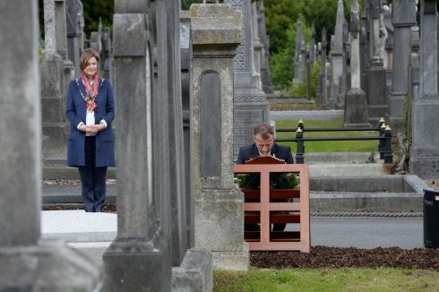 IN HONOUR: France's ambassador to Ireland Stéphane Crouzat at the grave of Peter Paul McSwiney to unveil a plaque honouring Irish people who served in France. Photograph: Alan Betson/The Irish Times