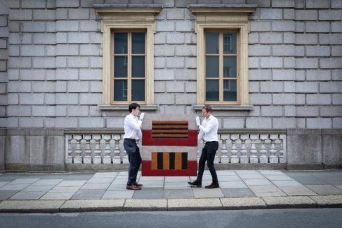 WINDOW SHOPPING: Sean Scully's Double Window arrives at the deVeres art auction house on Kildare Street in Dublin ahead of its online auction. Photograph: Leo Byrne