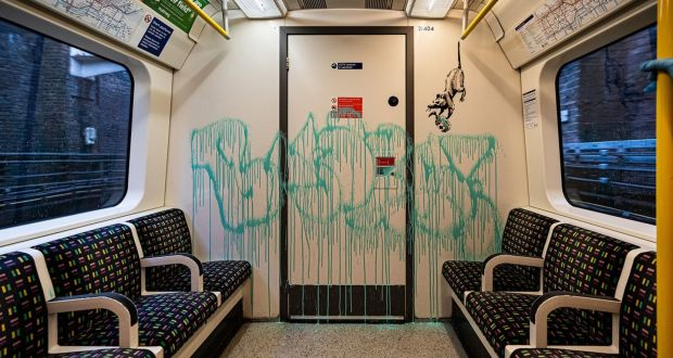 Banksy's latest work sprayed on the inside of a London Underground tube carriage with messages about the spread of coronavirus. Photograph: @banksy/PA Wire