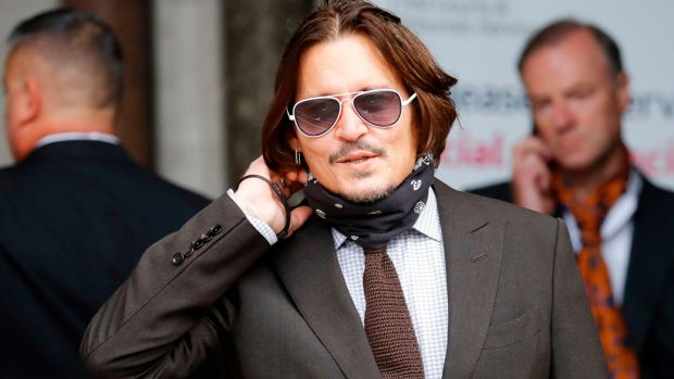 US actor Johnny Depp arrives to attend the seven day of his libel trial against News Group Newspapers (NGN), at the High Court in London, on Wednesday. Photograph: Tolga Akmen/AFP via Getty Images