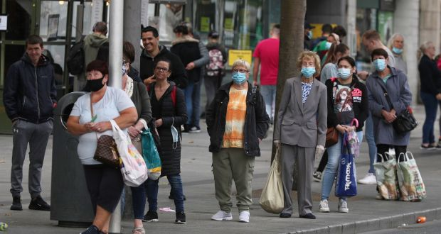 People waiting for a bus in Dublin city centre. Photograph Nick Bradshaw/The Irish Times