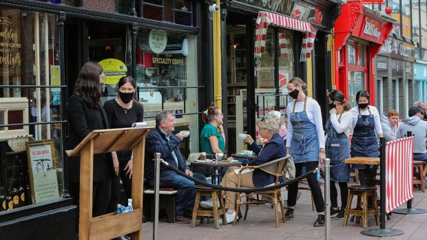 Al fresco in Killarney: Reidy's in Killarney town centre has adopted HSE Covid-19 measures which are proving very popular amongst visitors and locals. Photograph: Valerie O'Sullivan