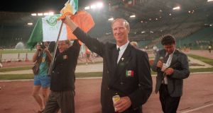 Republic of Ireland manager Jack Charlton waves to the crowd after his side were knocked out by Italy in the quarter-final of the World Cup in Olympic Stadium, Rome on June 30th, 1990. Photograph:   Ray McManus/Sportsfile