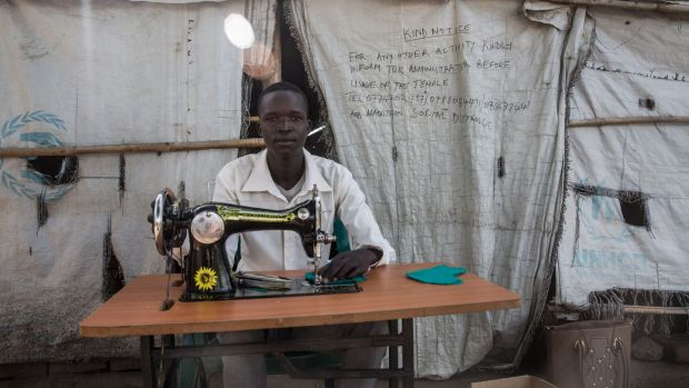 Ocen David, a 19-year-old South Sudanese refugee, is recovering from malaria, in Palabek settlement, northern Uganda. Roughly 53,000 South Sudanese refugees live in Palabek. Photograph: Sally Hayden/Thomson Reuters Foundation