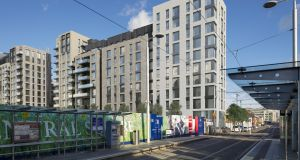 A computer-generated image of the Spencer Place apartment scheme in the Dublin docklands