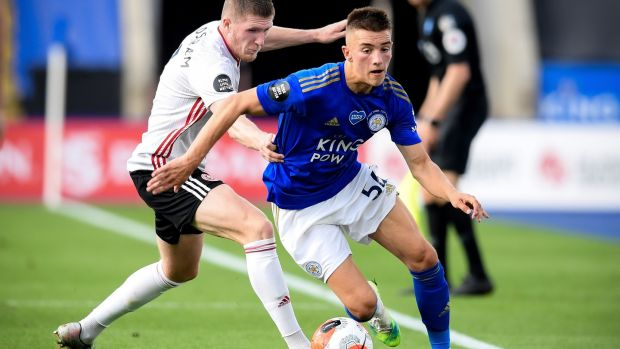 Leicester City's Luke Thomas goes past Sheffield's John Lundstram during the Premier League game at the King Power Stadium. Photograph: Michael Regan/NMC/EPA